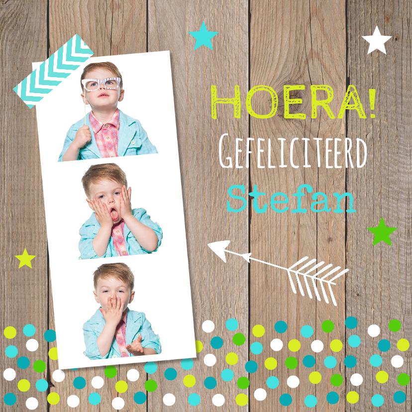 Verjaardagskaarten - Verjaardagskaart fotocollage jongen confetti