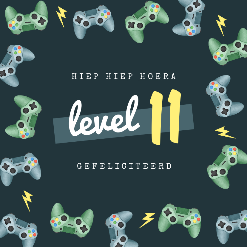 Verjaardagskaarten - Verjaardagskaart gamen controllers level kind