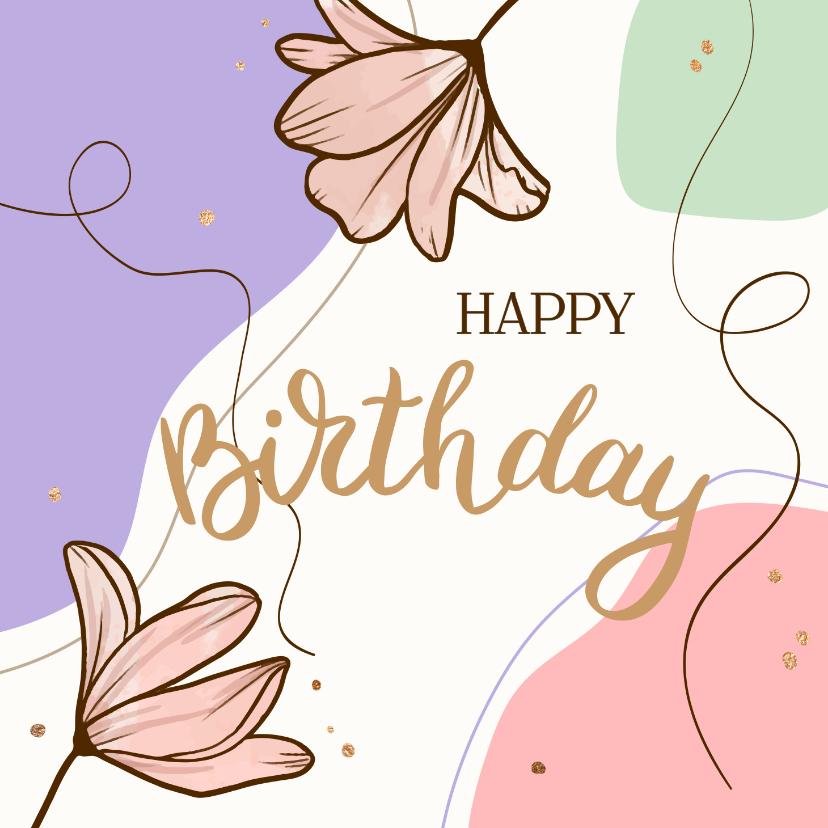 Verjaardagskaarten - Verjaardagskaart gekleurde vlakken met bloemen