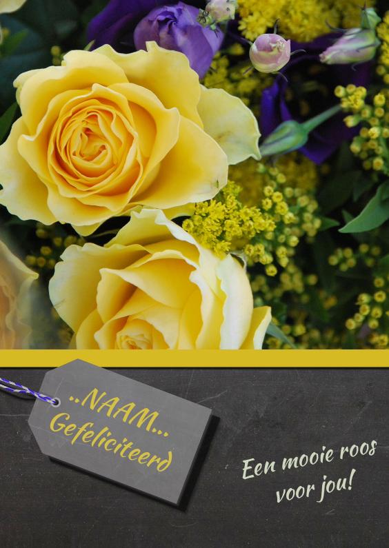 Verjaardagskaarten - Verjaardagskaart gele roos