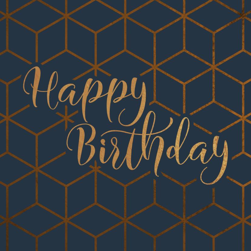 Verjaardagskaarten - Verjaardagskaart geometrisch Happy Birthday