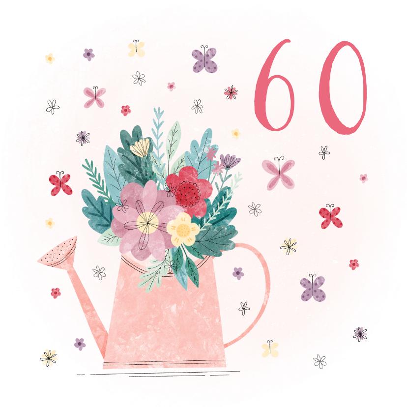 Verjaardagskaarten - Verjaardagskaart gieter met leeftijd, bloemen en vlinders