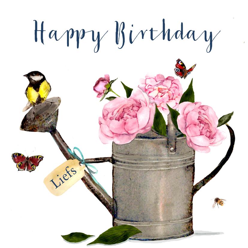 Verjaardagskaarten - Verjaardagskaart Gieter pioenrozen