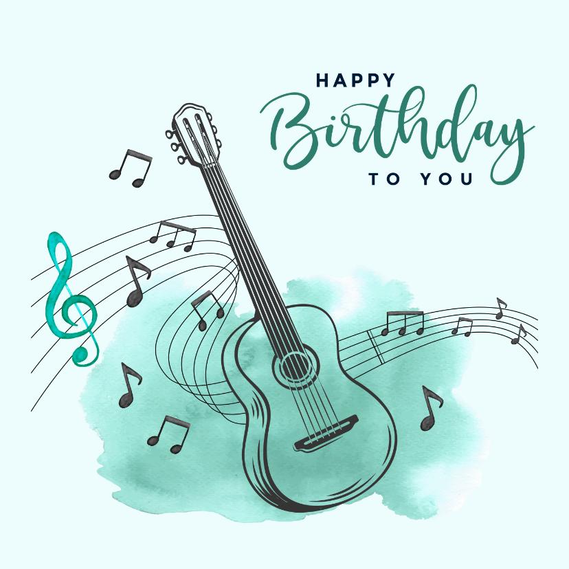 Verjaardagskaarten - Verjaardagskaart - Gitaar met muzieknoten en watercolor