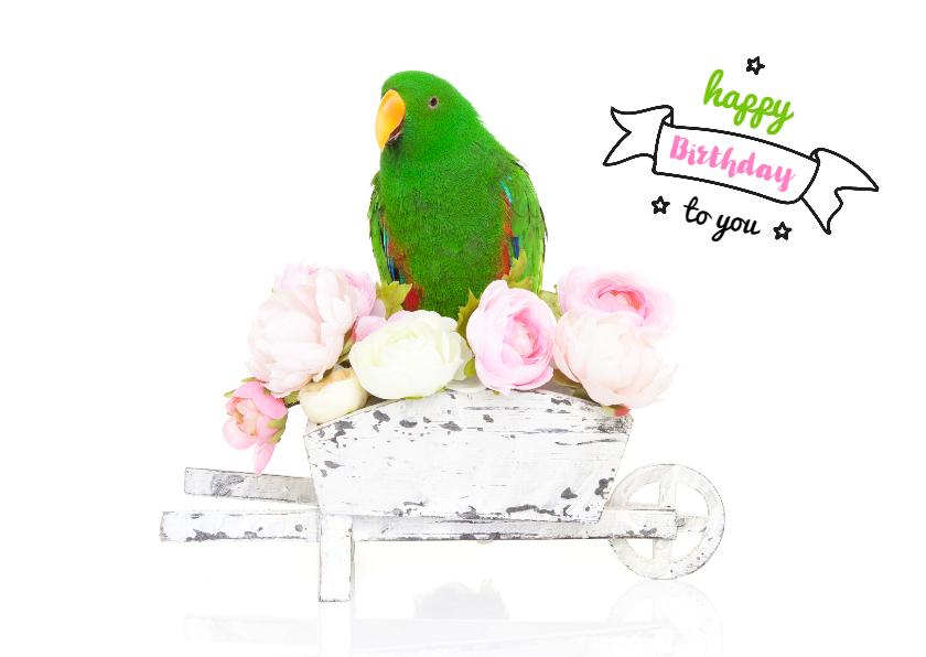 Verjaardagskaarten - Verjaardagskaart - Groene papegaai bloemetjes