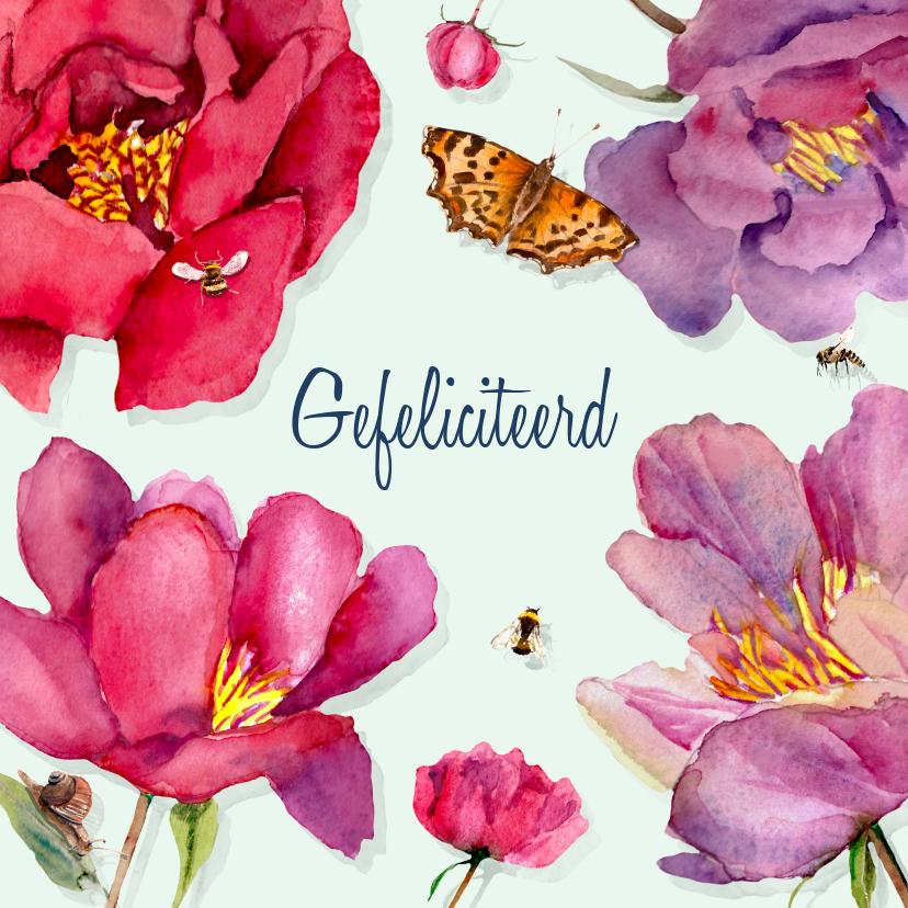 Verjaardagskaarten - Verjaardagskaart Grote kleurrijke bloemen