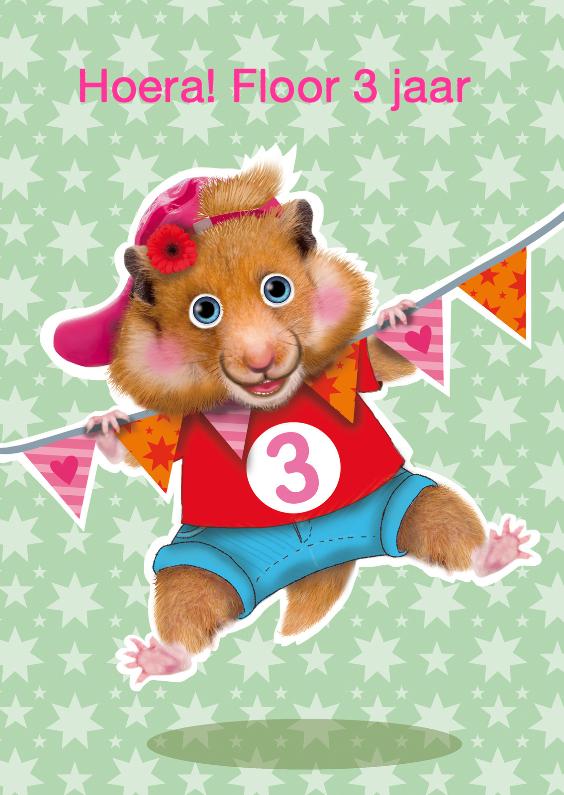 Verjaardagskaarten - verjaardagskaart hamster meisje 3 jaar