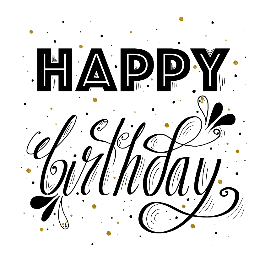 Verjaardagskaarten - Verjaardagskaart handlettering happy birthday