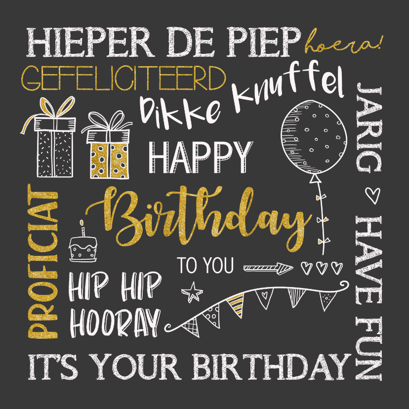 Verjaardagskaarten - Verjaardagskaart handlettering krijtbord