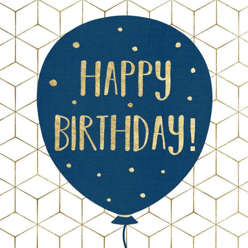 Verjaardagskaarten - Verjaardagskaart - Happy Birthday Ballon en Confetti