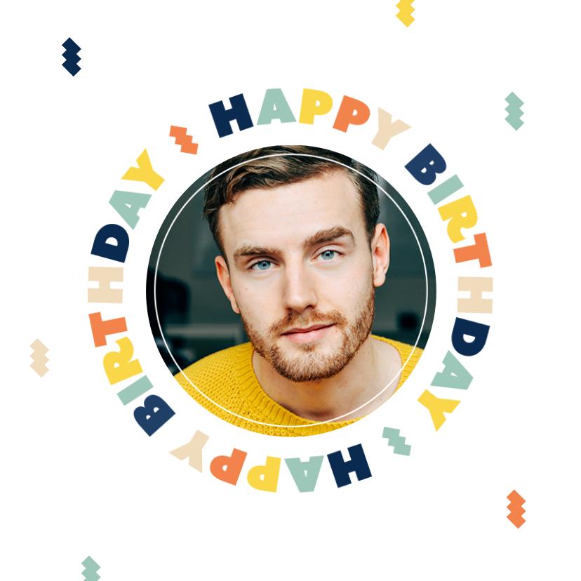 Verjaardagskaarten - Verjaardagskaart happy birthday man vrouw confetti foto