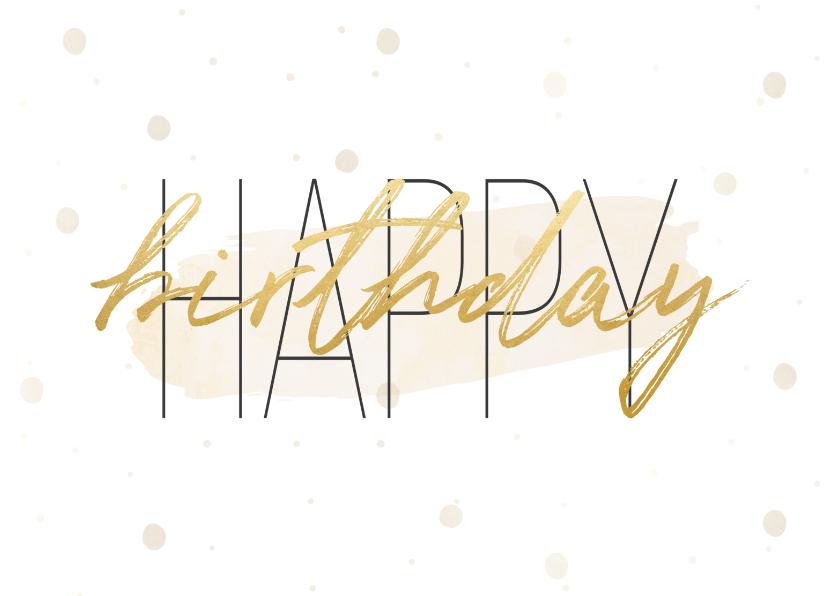 Verjaardagskaarten - Verjaardagskaart 'Happy birthday' met confetti en waterverf