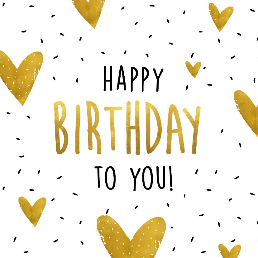Verjaardagskaarten - Verjaardagskaart Happy birthday to you goudlook