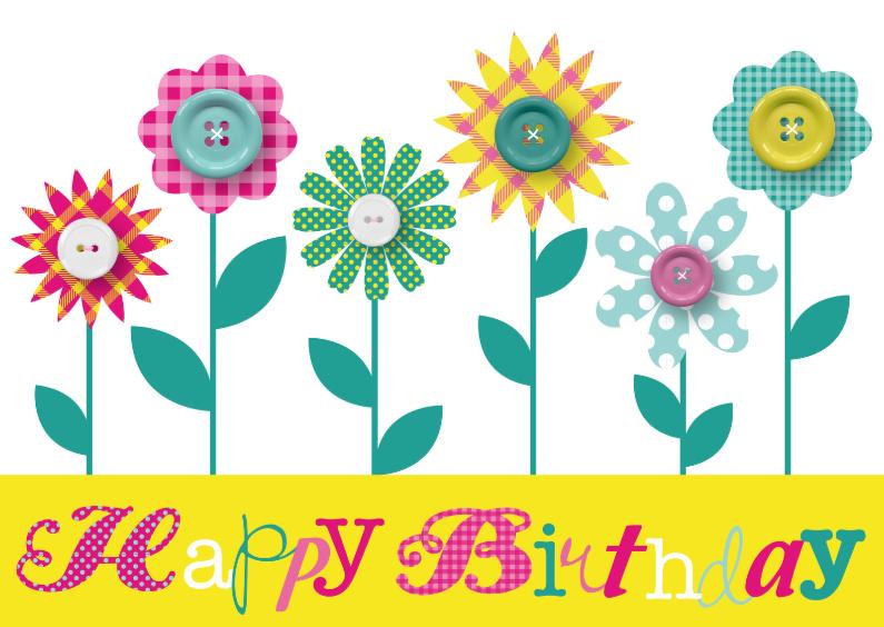 Verjaardagskaarten - Verjaardagskaart Happy Flowers