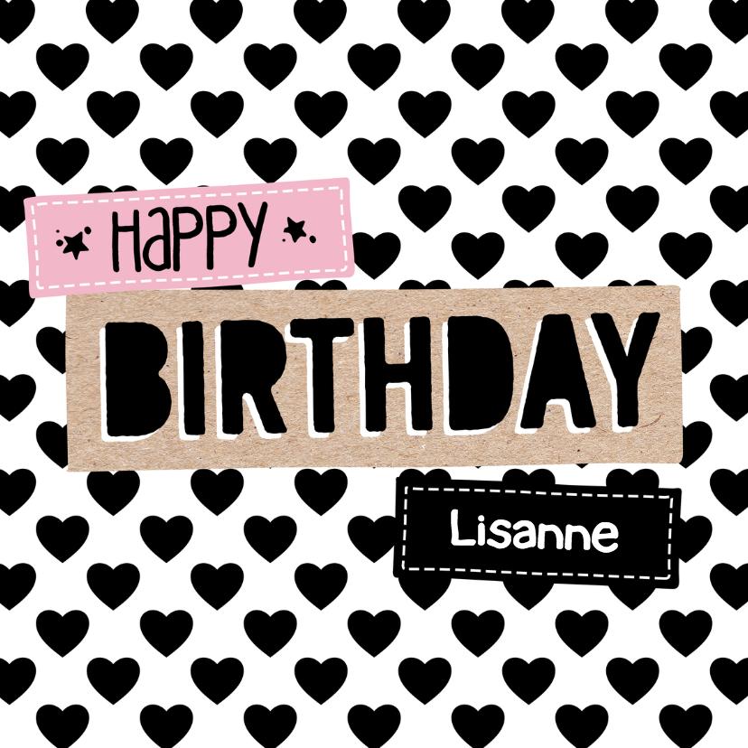 Verjaardagskaarten - Verjaardagskaart Hartjes 99