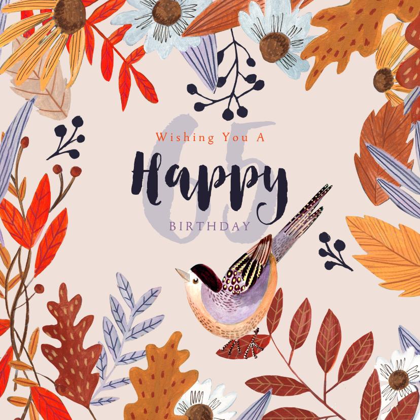 Verjaardagskaarten - Verjaardagskaart herfst bloemen en vogeltje