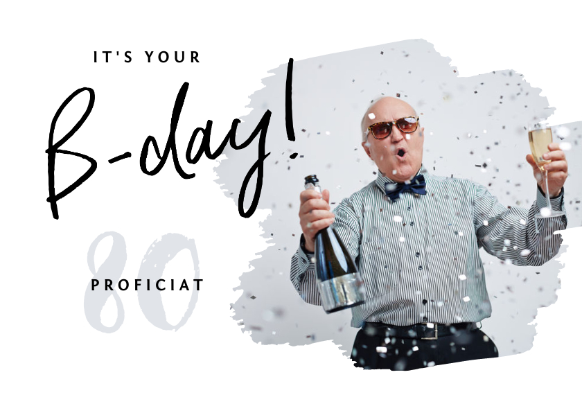 Verjaardagskaarten - Verjaardagskaart hip foto happy b-day