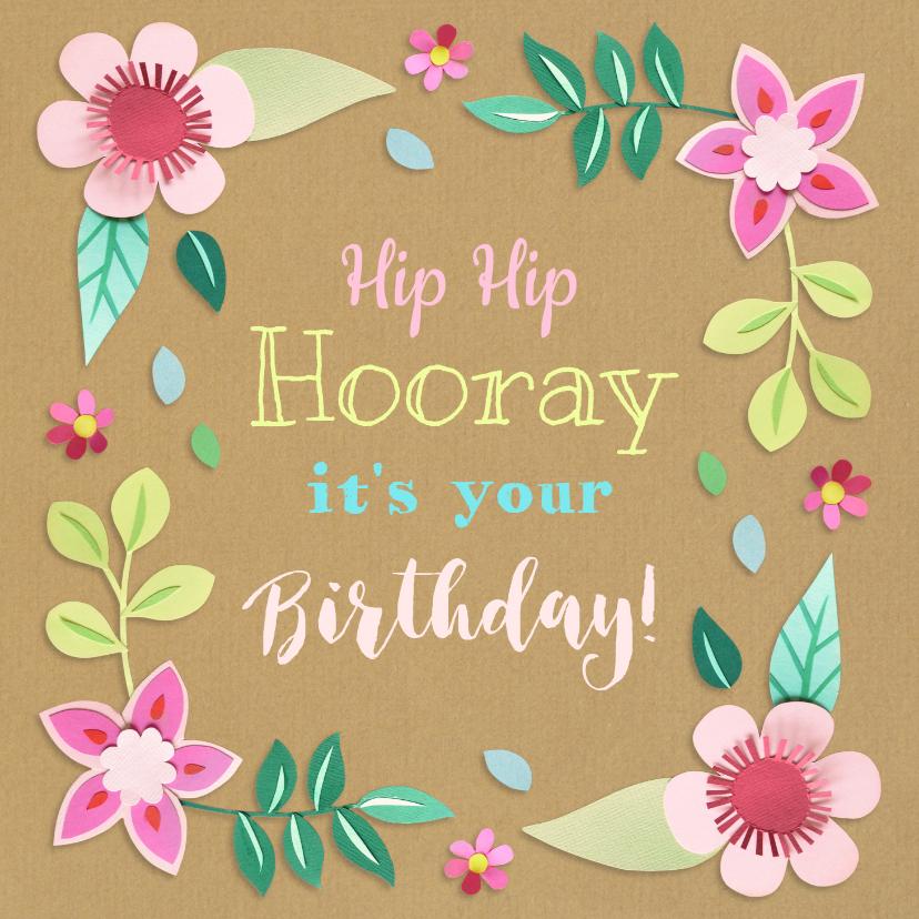 Verjaardagskaarten - Verjaardagskaart Hip Hip Hooray bloemen