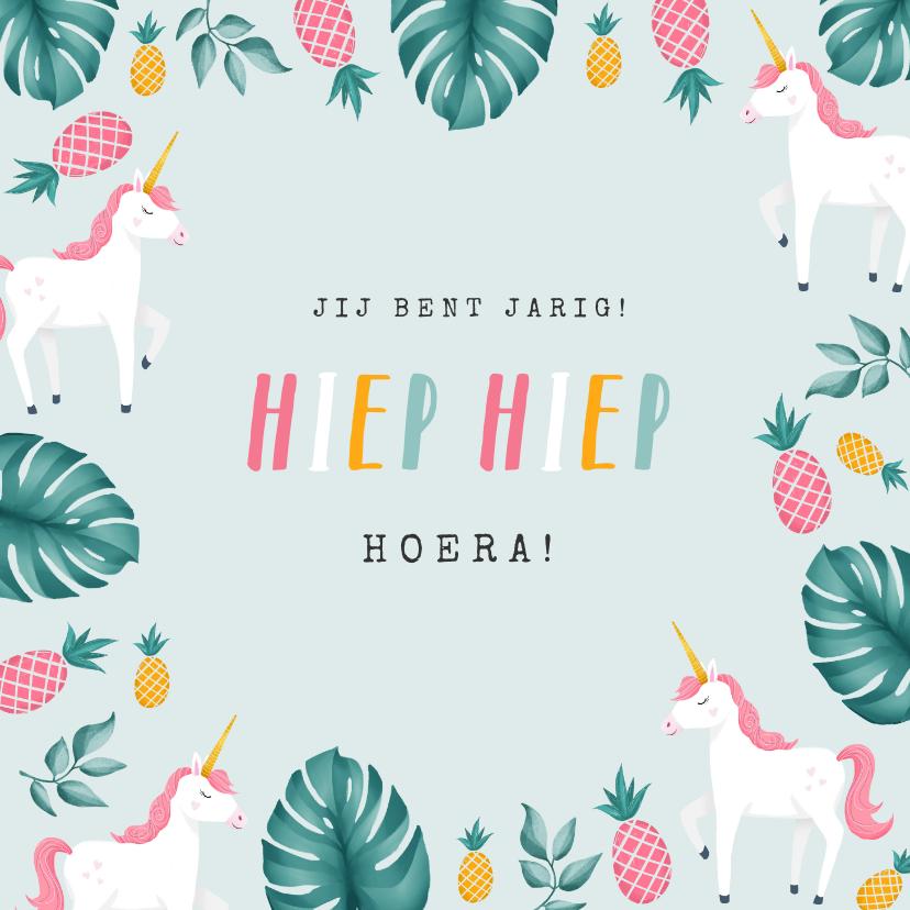 Verjaardagskaarten - verjaardagskaart hip meisje unicorn eenhoorn ananas