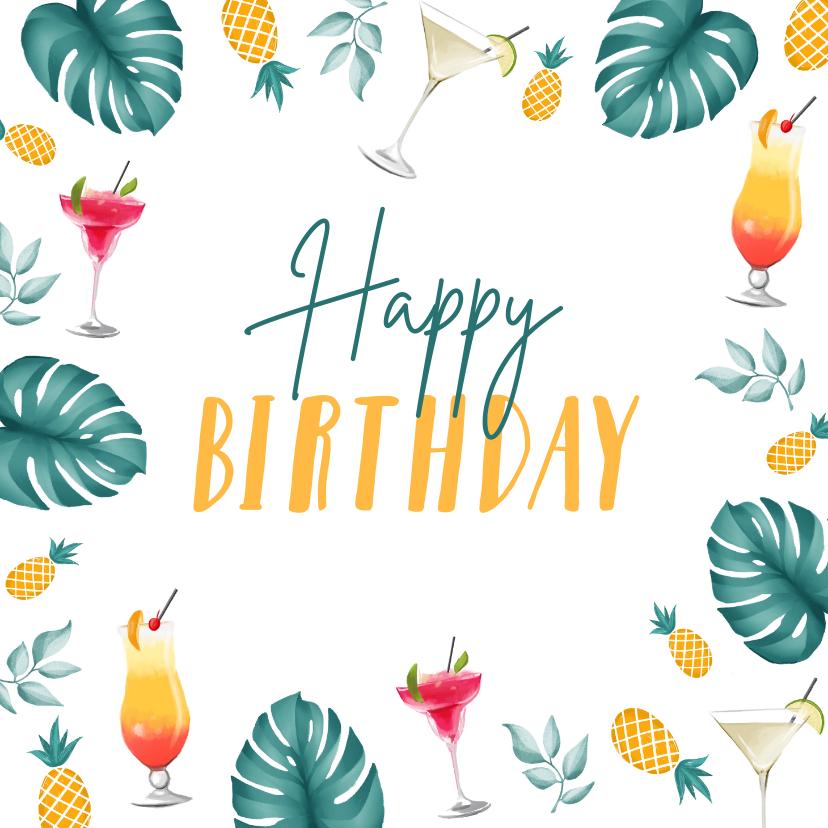 Verjaardagskaarten - Verjaardagskaart hip zomer cocktails ananas