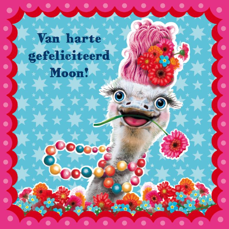 Verjaardagskaarten - Verjaardagskaart hippe struisvogel blauw
