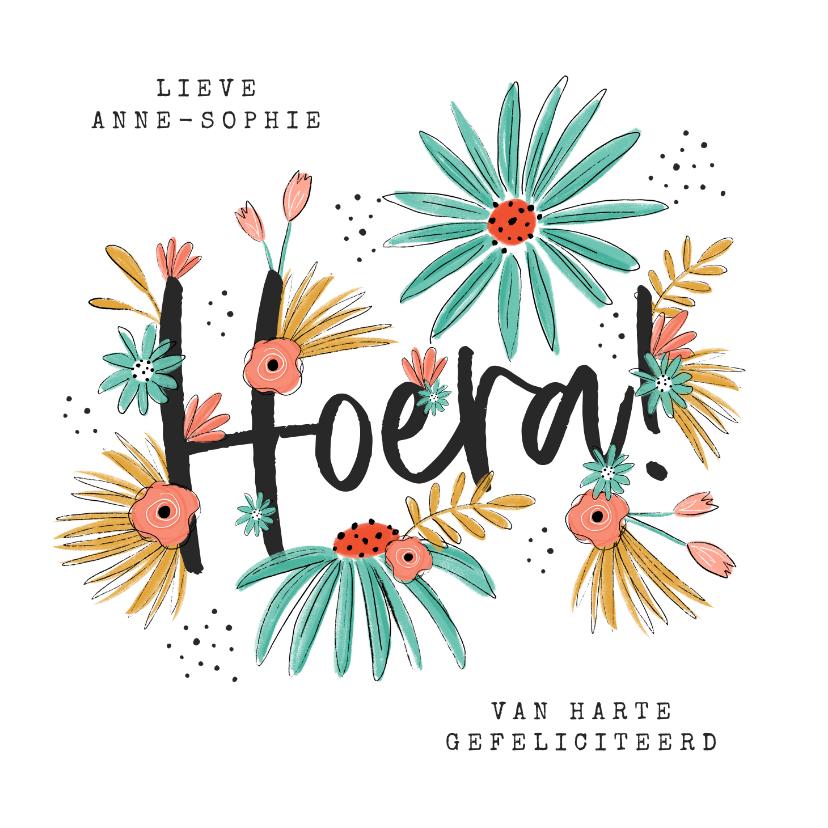 Verjaardagskaarten - Verjaardagskaart hoera bloemen illustratie proficiat