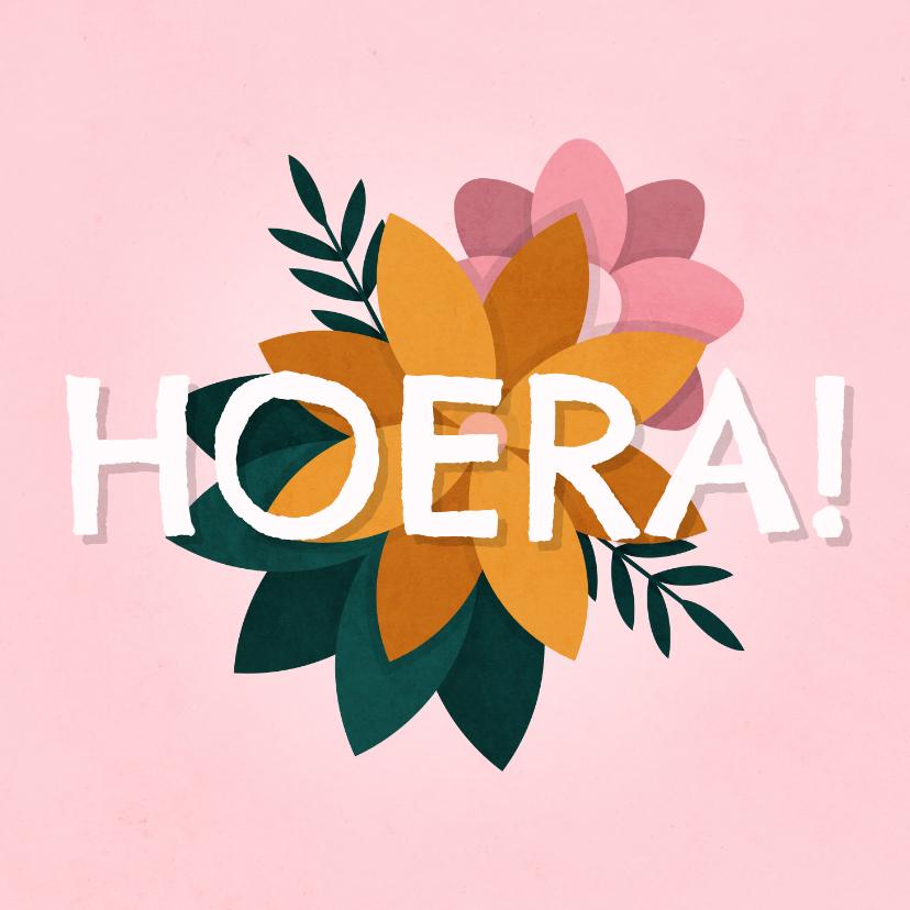 Verjaardagskaarten - Verjaardagskaart hoera met bloemen