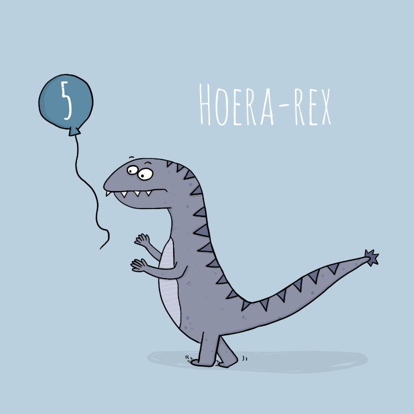 Verjaardagskaarten - Verjaardagskaart Hoera-rex!