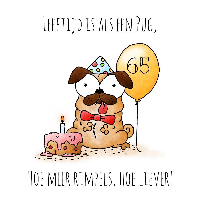 Verjaardagskaarten - Verjaardagskaart hond - Leeftijd is als een pug