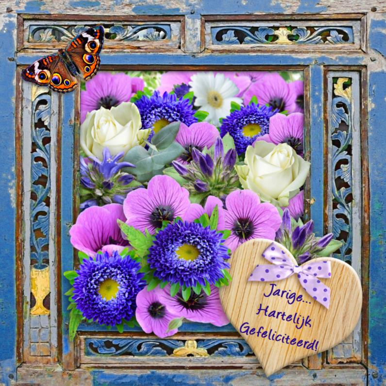 Verjaardagskaarten - Verjaardagskaart  houten frame met bloemen en wens