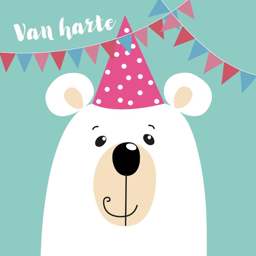 Verjaardagskaarten - Verjaardagskaart - ijsbeer met roze feestmuts
