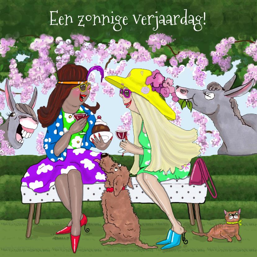 Verjaardagskaarten - Verjaardagskaart in de tuin met ezels