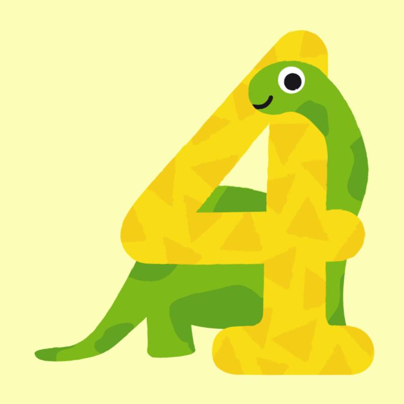 Verjaardagskaart Jongen 4 Jaar Dinosaurus Kaartje2go