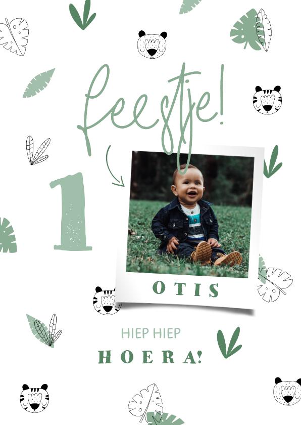 Verjaardagskaarten - Verjaardagskaart jongen jungle patroontje met foto