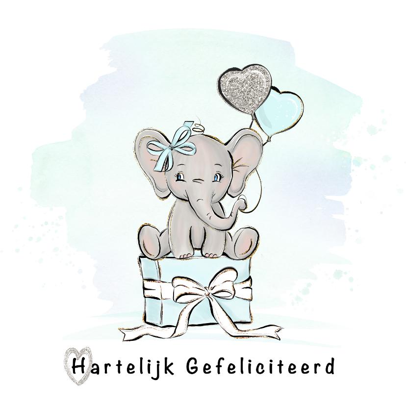 Verjaardagskaarten - Verjaardagskaart jongen olifant en ballonnen