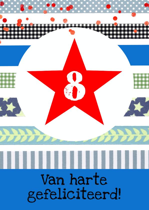 Verjaardagskaarten - Verjaardagskaart jongen ster confetti