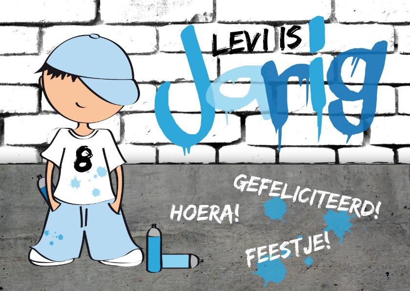 Verjaardagskaarten - Verjaardagskaart jongen stoer graffiti