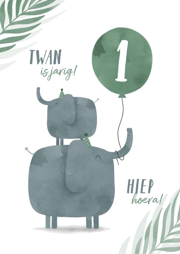 Verjaardagskaarten - Verjaardagskaart jungle 2 olifantjes met ballon en leeftijd