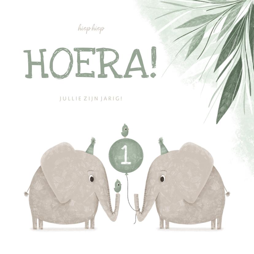 Verjaardagskaarten - Verjaardagskaart jungle tweeling 1 jaar olifanten met vogels