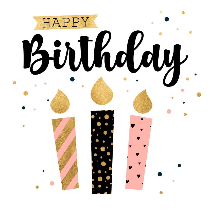 Verjaardagskaarten - Verjaardagskaart kaarsen stippen