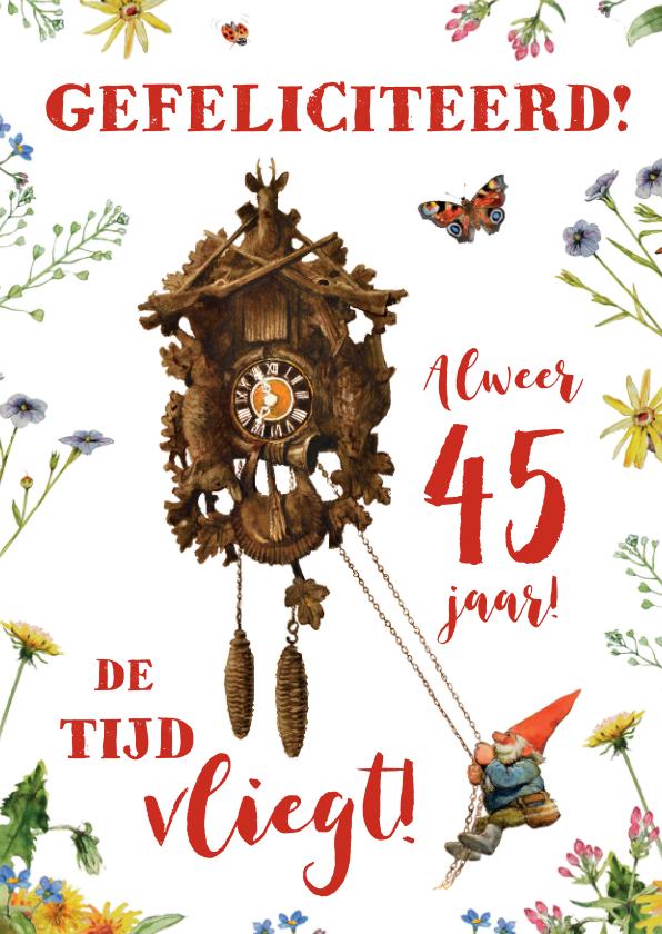 Verjaardagskaarten - Verjaardagskaart Kabouter De tijd Vliegt met leeftijd