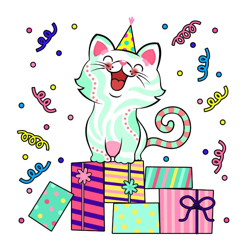 Verjaardagskaarten - Verjaardagskaart kat, cadeaus en slingers