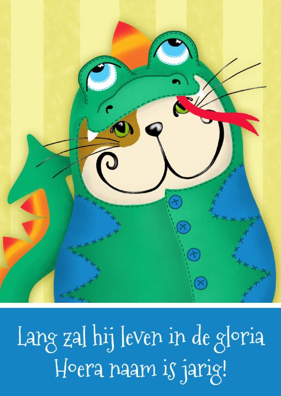 Verjaardagskaarten - Verjaardagskaart kat draakje