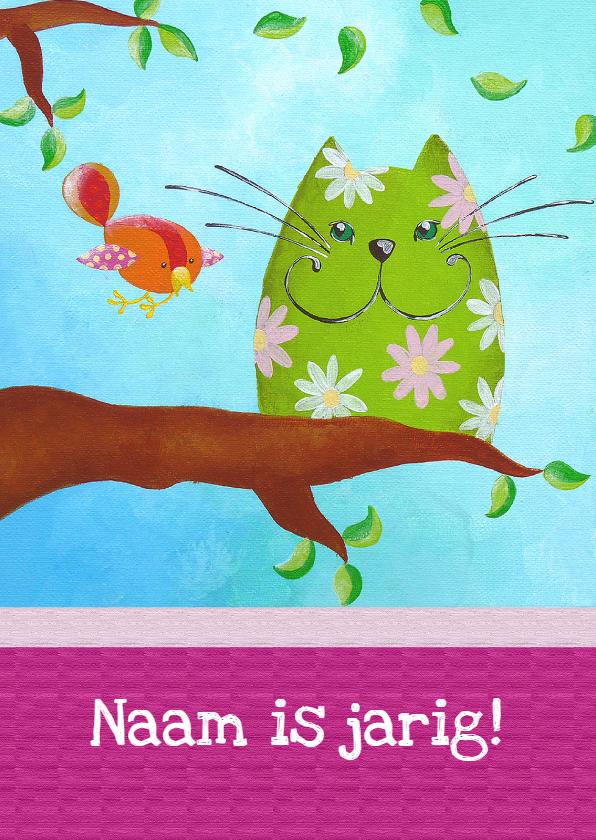Verjaardagskaarten - Verjaardagskaart Kat en Vogel