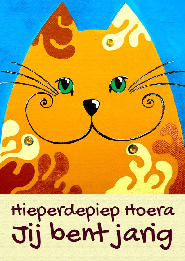 Verjaardagskaarten - Verjaardagskaart kat Goudlokje