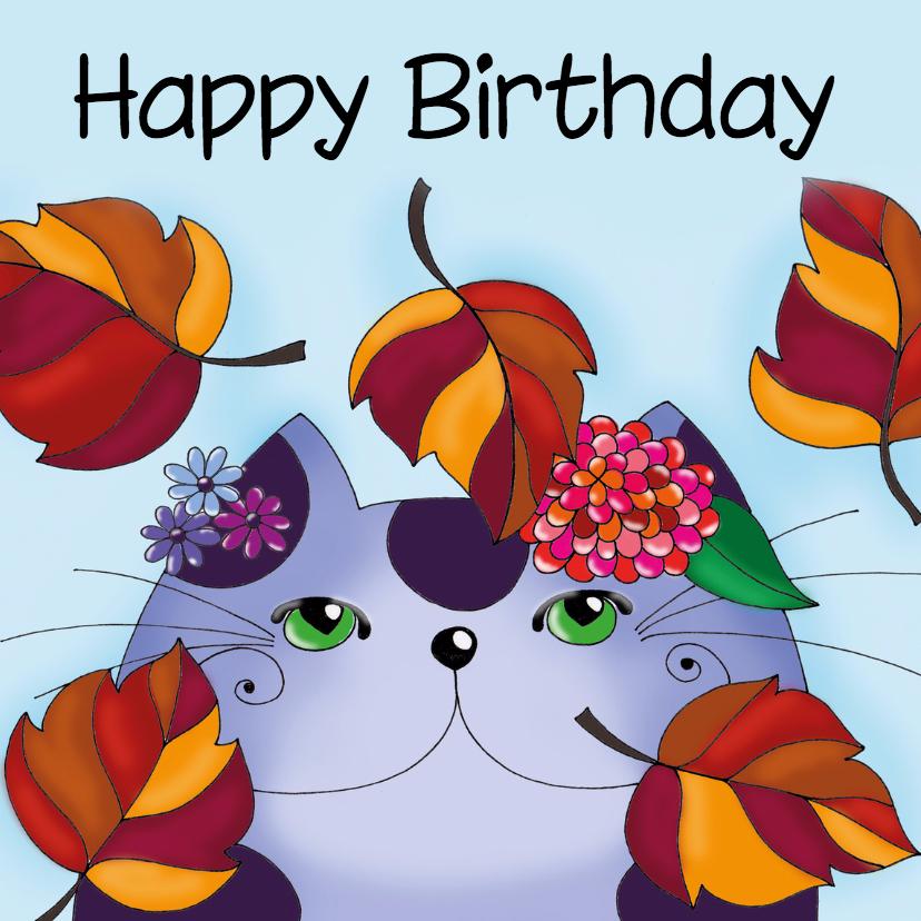 Verjaardagskaarten - Verjaardagskaart Kat in de herfst  - SK