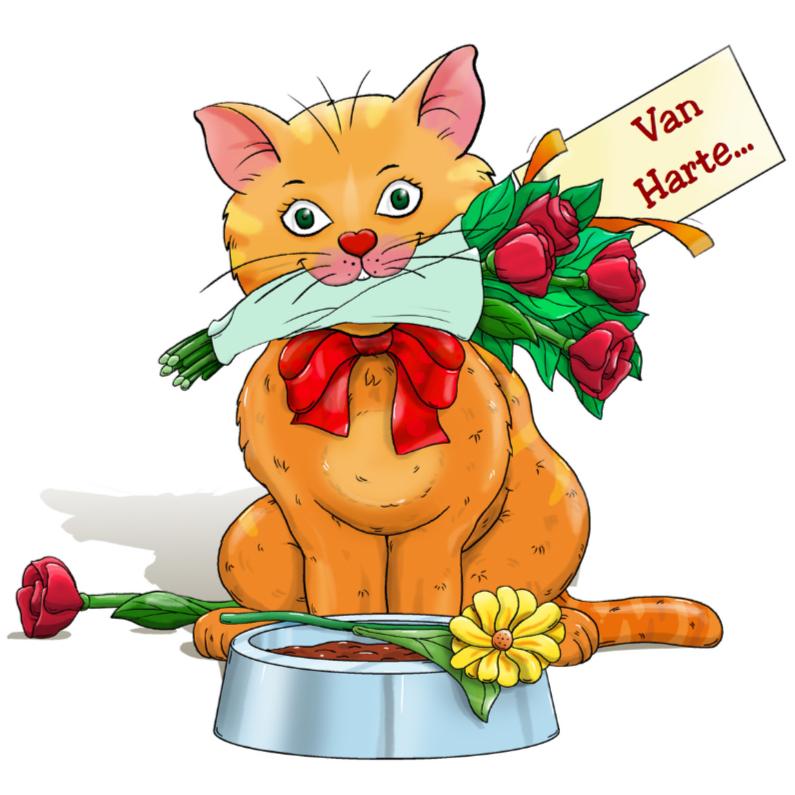 Verjaardagskaarten - Verjaardagskaart kat met bloemen en kaartje: Van Harte...