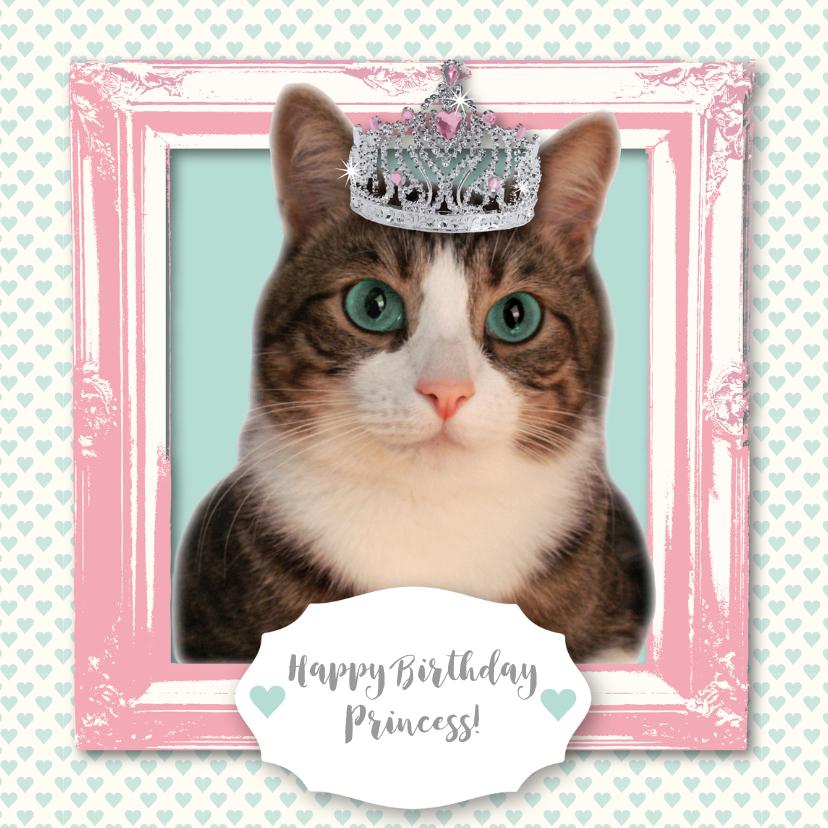 Verjaardagskaarten - Verjaardagskaart kat prinses meisje