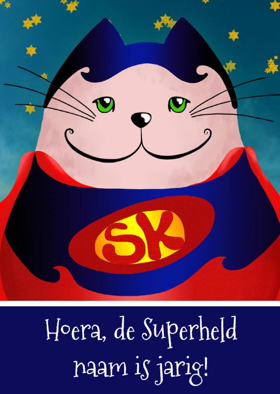 Verjaardagskaarten - Verjaardagskaart kat superman