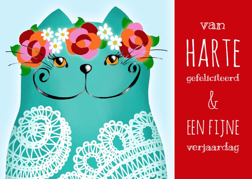 Verjaardagskaarten - Verjaardagskaart Katje lace